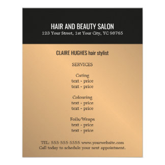 Elegant Dark Faux Gold Black Beauty Salon Flyer