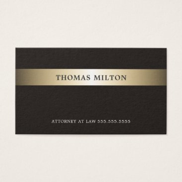 Lawyer Themed Elegant Dark Faux Gold Grey Attorney Business Card