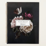 """Elegant Dark Floral Bouquet   Personalized Planner<br><div class=""""desc"""">Start the new year in style and keep track of your appointments and key dates with our elegant floral planner. Personalized design features a cluster of ivory roses and deep burgundy flowers on a dark and dramatic background. Customize with two lines of custom text for your name and the year...</div>"""