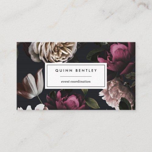 Elegant Dark Floral on Black Business Card