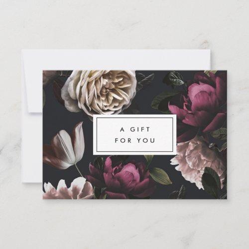 Elegant Dark Floral on Black  Gift Certificate