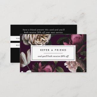 Elegant Dark Floral on Plum Referral Card