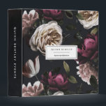 """Elegant Dark Floral Personalized 3 Ring Binder<br><div class=""""desc"""">Personalize this chic binder with your name and/or business name for an eyecatching custom addition to your office. Design features a pattern of ivory roses and deep burgundy flowers on a dark and dramatic background. Customize the solid black spine with additional custom text in modern white lettering.</div>"""