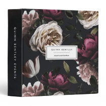 Elegant Dark Floral Personalized 3 Ring Binder