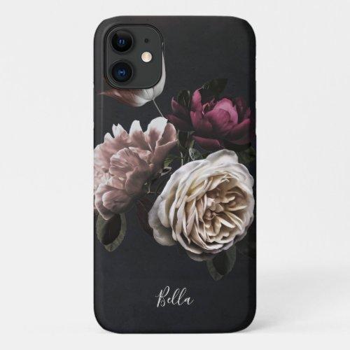 Elegant Dark Floral Rose Personalized Phone Case