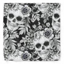 Elegant Dark Floral Skulls on Black Bandana