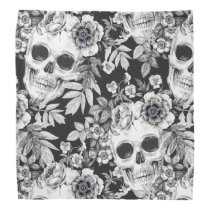 Elegant Dark Floral Skulls on Black Bandana