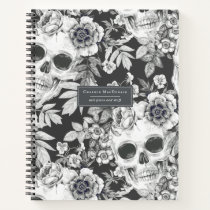 Elegant Dark Floral Skulls on Black Personalized Notebook