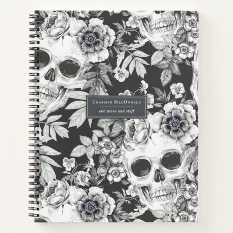 Elegant Dark Floral Skulls on Black Personalized Notebook