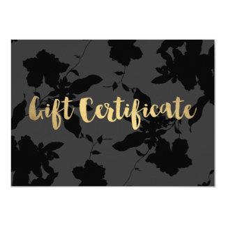 Elegant Dark Gray/Black Floral Gift Certificate Card