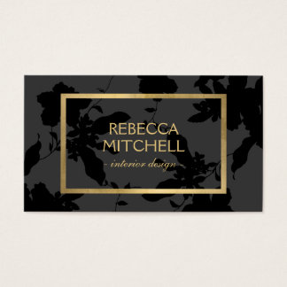 Elegant Dark Gray Floral Pattern with Gold Accents Business Card