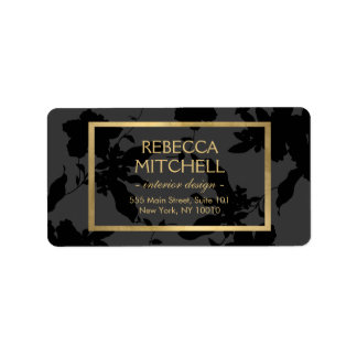Elegant Dark Gray Floral Pattern with Gold Accents Label