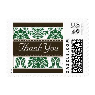 Elegant Dark Green Damask Ribbon Thank You Stamps