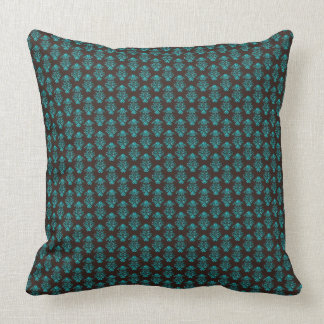 Elegant Dark Green on Brown  Classic Baroque Style Throw Pillows