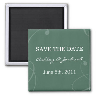 Elegant Dark Green Save The Date Magnets