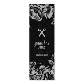 elegant dark hair stylist modern budget floral Double-Sided mini business cards (Pack of 20)