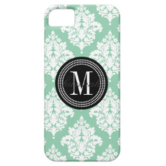 Elegant Dark Mint Damask Personalized iPhone SE/5/5s Case