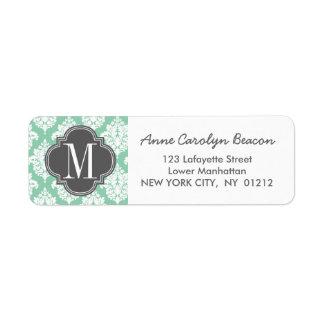 Elegant Dark Mint Damask Personalized Label