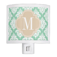 Elegant Dark Mint Damask Personalized Nite Lights