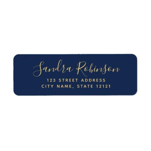 Elegant dark navy blue return address labels