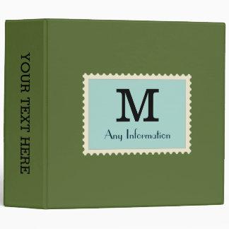 Elegant Dark Olive Green Color Monogram 3 Ring Binder