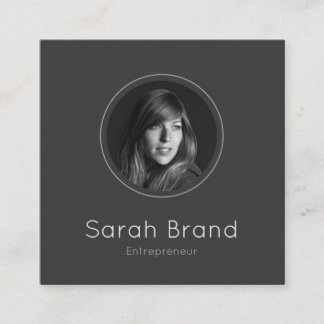 Elegant Dark Personal Photo Square Business Card