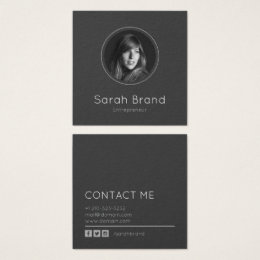 Real estate developer business cards templates zazzle elegant dark personal photo square business card reheart Gallery
