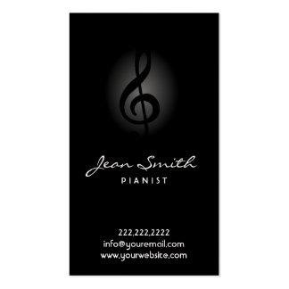 Elegant Dark Pianist Business Card