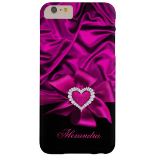 Elegant Dark Pink Silk Look Black Heart Jewel Barely There iPhone 6 Plus Case