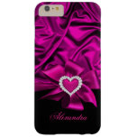 Elegant Dark Pink Silk Look Black Heart Jewel Barely There iPhone 6 Plus Case