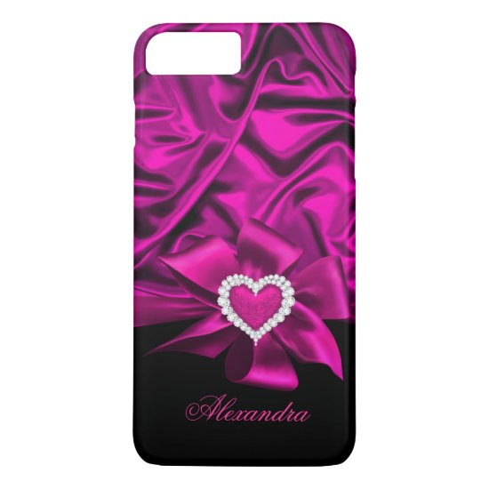 Elegant Dark Pink Silk Look Black Heart Jewel iPhone 7 Plus Case