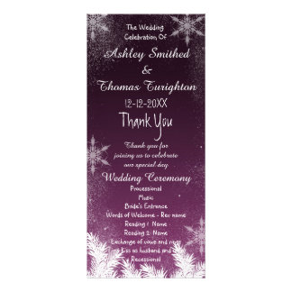 Elegant dark plum Snowflake Winter Wedding Program