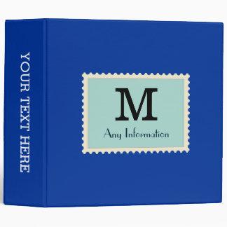 Elegant Dark Powder Blue Color Monogram 3 Ring Binder