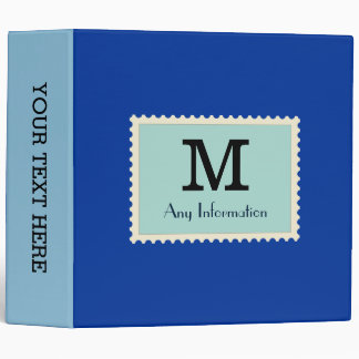 Elegant Dark Powder Blue Color Monogram Binder