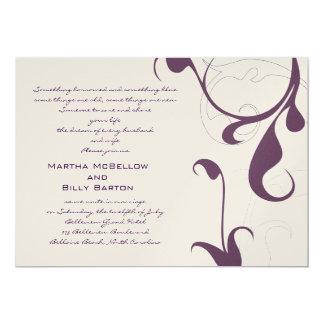 ELEGANT DARK PURPLE AND CHANPAGNE WEDDING CARD