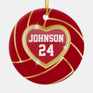 Elegant Dark Red and Gold Volleyball Ceramic Ornament