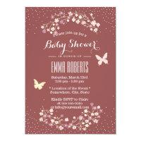 Elegant Dark Red Butterfly & Flowers Baby Shower Card