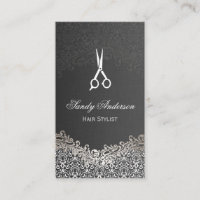 Elegant Dark Silver Damask - Hair Stylist Business Card