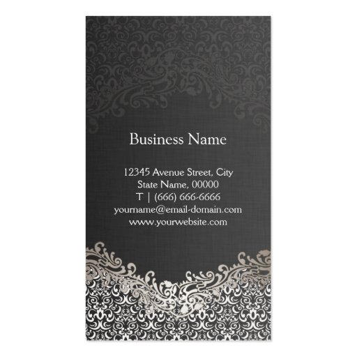 Elegant Dark Silver Damask - Hair Stylist Business Card Template (back side)