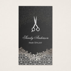 Elegant Dark Silver Damask - Hair Stylist Business Card at Zazzle