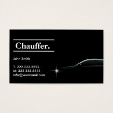 Elegant Dark Taxi Driver/chauffeur Business Card at Zazzle