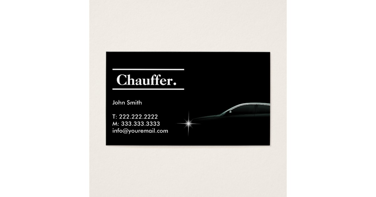 Elegant Dark Taxi Driver/Chauffeur Business Card   Zazzle.com