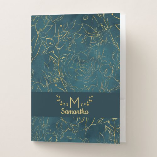 Elegant Dark Teal Blue  Gold Foil Floral Monogram Pocket Folder