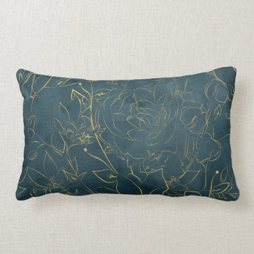 Elegant Dark Teal Blue Watercolor Gold Foil Floral Lumbar Pillow