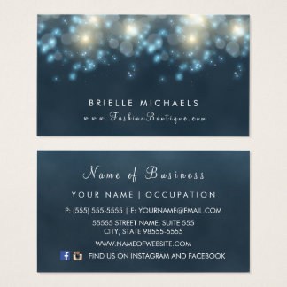 Elegant Dark Teal Bokeh Fashion Boutique Business Card