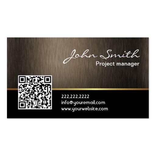 Elegant Dark Wood QR Code Business Card