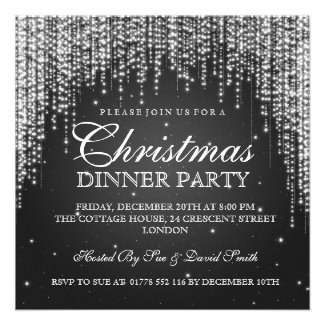 Elegant Dazzle Christmas Holiday Party Black Invites
