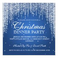 Elegant Dazzle Christmas Holiday Party Blue Card