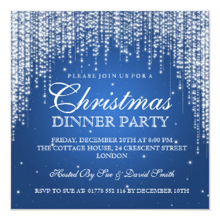 Elegant Dazzle Christmas Holiday Party Blue Card at Zazzle