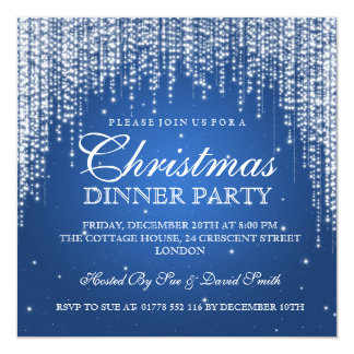 Elegant Dazzle Christmas Holiday Party Blue Card